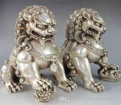 foo dog statues silver guardian lion foo fu dog statue a pair home decor