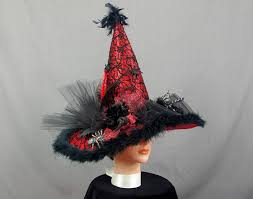 Red Witch Halloween Costume Black Red Witch Hat Halloween Witch Hat Decorated Witch