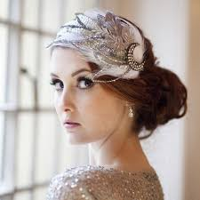 wedding headdress jazz age sparkle and feather vintage bridal cap from