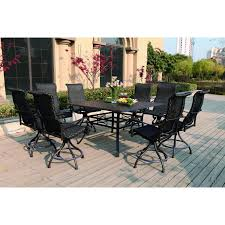 Bar Height Patio Set With Swivel Chairs Fascinating Patio Height Dining Set In Patio Furniture Bar Height