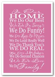 in our home we do family pink text quotes framed giclee print