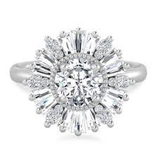 baguette ring preshong diamond baguette halo ring