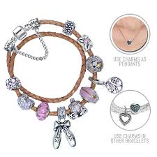 bracelet leather pandora images Cinderella beige pandora style leather bracelet combo set with 12 jpg