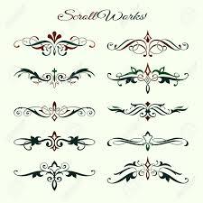 scroll works design ornamental decorative elements royalty free