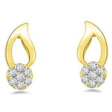 gold earring studs designs leaf patterned stud earrings in gold with studded diamonds by