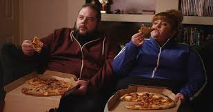 Couch Potato Tv 4k Overweight Couch Potato Couple Eating Takeaway Pizza In Front