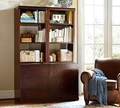 Mahogany Bookcase Logan Bookcase With Drawers Mahogany Stain Pottery Barn