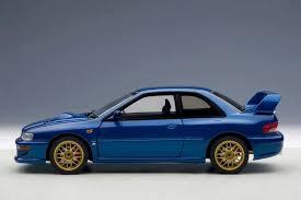 blue subaru autoart 1998 subaru impreza 22b upgraded version blue 78602