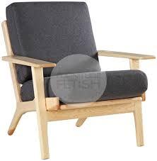 Wegner Chairs Reproduction Replica Hans Wegner Plank Chair 1 Seater Sofa U2013 Ash Charcoal
