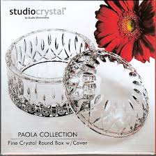 Fine Crystal Studio Silversmiths Round Crystal Jewel Box Paola Collection