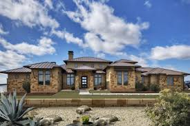 Texas Farm House Plans Hill Country Contemporary Exterior Stucco Stone Metal Roof