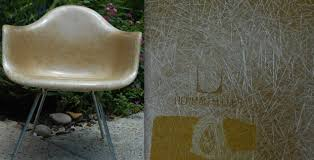 eames ochre flame embossed herman miller chair butterscotch