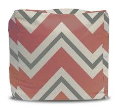 Coral Ottoman Coral And Gray Chevron Pouf Ottoman Project Cottage