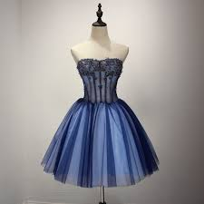 online shop 2017 real pretty strapless short blue prom dresses