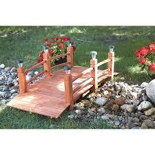 solar lights landscaping amazon com decorative wood bridge with solar lights 5ft
