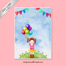 happy s day cards painted happy children s day card vector premium