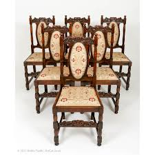 set of six antiquue jacobean style solid oak dining chairs with