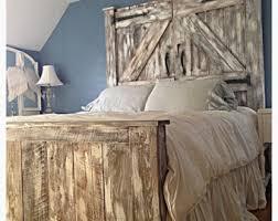 Distressed Wood Headboard by Barn Door Headboard Etsy