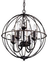 Crystal And Bronze Chandelier Cage Globe Crystal Chandelier Antique Bronze Contemporary