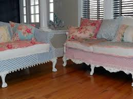 Cottage Chic Slipcovers by Shabby Chic Sofas Slipcovered With Vintage Chenille Bedspreads And