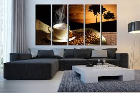 Coffee Wall Decor For Kitchen 5 Piece Large Canvas Coffee Wall Decor Coffee Beans Multi Panel