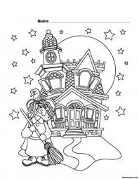 halloween witch castle printable coloring pages printable