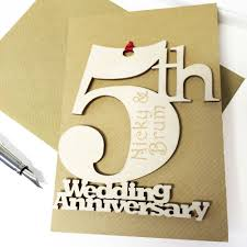 greeting card appealing personalised 5th wedding anniversary card