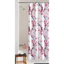Fabric Shower Curtain With Window Mainstays Pink Blossom Fabric Shower Curtain Walmart
