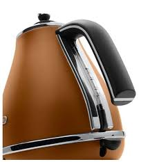 De Longhi Kettle And Toaster Kettles Delonghi 1 7l Kettle Icona Vintage Tan Leather Kbov2001 Bw