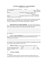 free colorado commercial lease agreement template pdf word