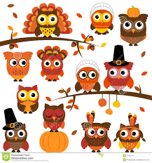 thanksgiving and autumn themed vector owl collection royalty free