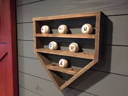 Home Plate Baseball Baseball Shelf Wooden Home Plate Baseball Organizer
