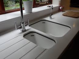 a corian sink in bone with rh drainer trends and kitchen sinks