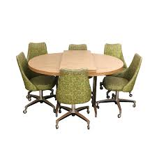 mid century modern chromcraft green vinyl chrome dining set 6