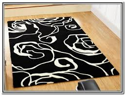 black and white area rug chester eco cotton rugs by hook ikea