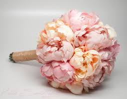 Shabby Chic Wedding Bouquets by Wedding Bouquet Pink And Peach Peony Bouquet Rustic Shabby Chic