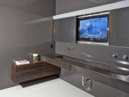 amazing sci fi bathroom design with high end lcd tv idea tv tv idea over the sink in elegant grey bathroom design tv ideas for bathroom