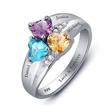 rings with birthstones and names heart birthstone silver name ring favepick