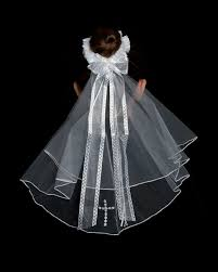 holy communion veils holy communion bun wrap with veil with ribbons and pearls