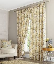Curtains Floral Curtains Grey And Yellow 4pc White Embroidered Curtain Set With
