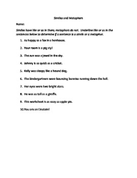 literary elements similes and metaphors worksheets common core