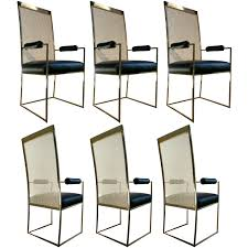 Cane Back Dining Room Chairs 6 Milo Baughman Brass U0026 Cane Back Leather Dining Chairs From A