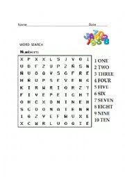 worksheet number word search
