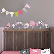 Fabric Wall Decals For Nursery Birds And Owls Children Wall Decal Wall Sticker For Nursery