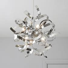 heka curled chrome effect 6 lamp pendant ceiling light