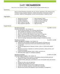 Warehouse Packer Resume Resume Examples For Warehouse Warehouse Associate Resume Samples