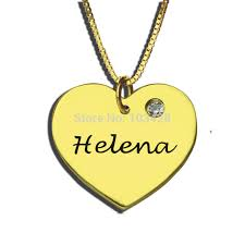 Engravable Heart Necklace Aliexpress Com Buy Gold Color Engraved Heart Birthstone Necklace
