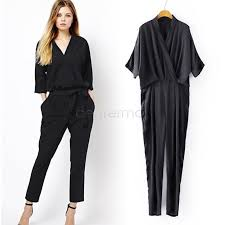casual jumpsuits buy blue black casual jumpsuit 3 4 sleeve pocket womens