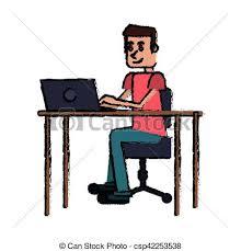 clipart bureau type bureau ordinateur portable lieu travail dessin