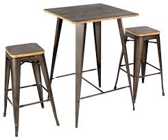 Industrial Bistro Table Oregon Pub Table Stool Set Dark Espresso Top Antique Finish